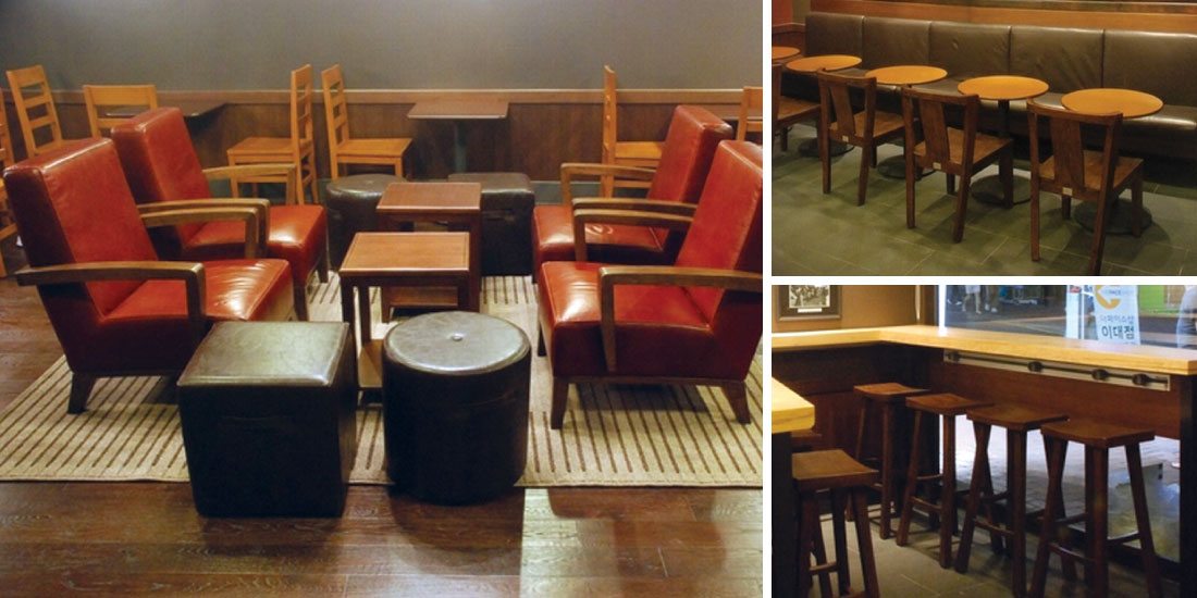 Bon Maria Yee Furnished The Starbucks In Seoul, South Korea With Hardwood  Barstools, Dining Chairs, And Lounge Chairs.
